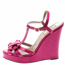 Valentino Pink Leather T-Strap Bow Detail Wedge Sandals Size 39.5 193823