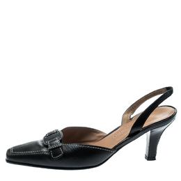 Salvatore Ferragamo Black Leather Lua Bow Slingback Sandals Size 40.5 194191