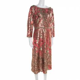 Marchesa Notte Pink and Gold Floral Sequined Midi Tea Dress XL