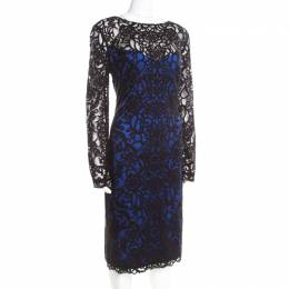 Tadashi Shoji Black Lace Overlay Bateau Neck Sheath Dress XL