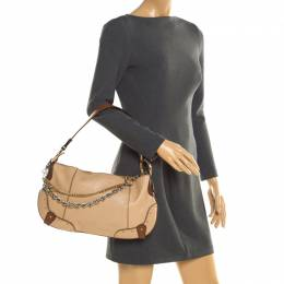 Dolce & Gabbana Beige/Brown Leather Chain Shoulder Bag 195003