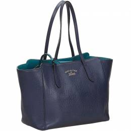 Gucci Blue Leather Swing Tote Bag 140049