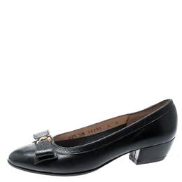 Salvatore Ferragamo Dark Grey Leather And Lizard Embossed Leather Bow Block Heel Pumps Size 34.5 195612