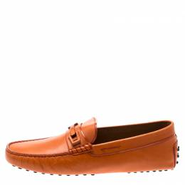 Tod's Orange Leather Macro Clamp Loafers Size 44 196696