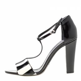 Ralph Lauren Monochrome Stripes Patent Leather T-Strap Sandals Size 40 196844