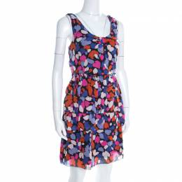 Marc By Marc Jacobs Abstract Floral Printed Silk Tiered Sleeveless Dress M 196680