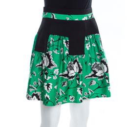 Diane Von Furstenberg Toile Garden Green Floral Print Claire Mini Skirt XS 196682