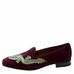 Gucci Wine Suede New Gallipoli Dragon Embroidered Loafers Size 44 196673