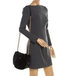 Dolce & Gabbana Black Fur and Croc Embossed Leather DG Millennials Panther Shoulder Bag 196994