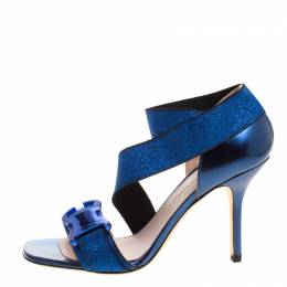 Christopher Kane Electric Blue Leather and Lurex Safety Buckle Open Toe Sandals Size 38
