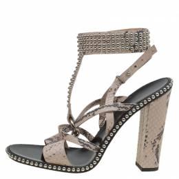 Salvatore Ferragamo Beige Python Sienna Studded Ankle Strap Sandals Size 41 90853