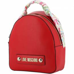 Love Moschino Red Faux Leather Scarf Backpack 241213