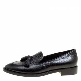 Etro Black Embossed Leather Tassel Loafers Size 39 166232