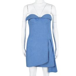 Ermanno Scervino Blue Angora Layered Strapless Dress M 113044