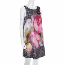 Paule Ka Multicolor Printed Silk Bow Detail Sleeveless Dress M
