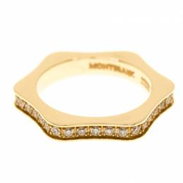 Montblanc 4810 Star Diamond 18k Yellow Gold Band Ring Size 54 183658