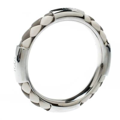 Tod's Woven Leather Silver Tone Bangle Bracelet 186912 - 1