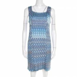 Missoni Blue and Grey Lurex Knit Dress and Cardigan Set M 195538