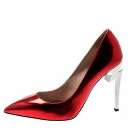 Giuseppe Zanotti Design Metallic Red Leather Bolt G Pointed Toe Pumps Size 38 197467