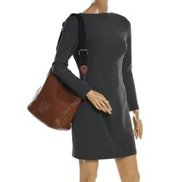 Carolina Herrera Brown Pebbled Leather Messenger Bag 197700