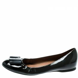 Salvatore Ferragamo Dark Grey Patent Leather Degrade Ballet Flats Size 38.5