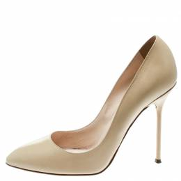 Sergio Rossi Beige Leather Pumps Size 39 182345