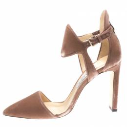 Jimmy Choo Blush Pink Velvet Moon Cut Out Pointed Toe Pumps Size 39.5