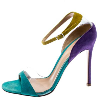 Gianvito Rossi Tricolor Suede And PVC Natalie Ankle Strap Sandals Size 36.5 187184 - 1