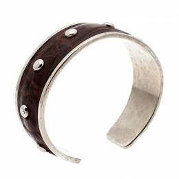 Tod's Dark Brown Embossed Leather Studded Silver Tone Narrow Cuff Bracelet 197784