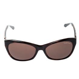 Roberto Cavalli Dark Havana / Brown 730S Asdu Leopard Print Rectangle Sunglasses 197461