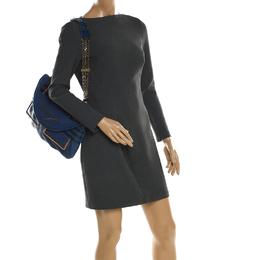 Chloe Blue Leather and Python Trim Flap Shoulder Bag 197780