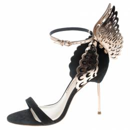 Sophia Webster Black Suede and Laser Cut Rose Gold Leather Evangeline Open Toe Sandals Size 35 198047