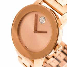 Movado Rose Gold Plated Stainless Steel Bold MB.01.3.34.6039 Women's Wristwatch 36 mm 198148