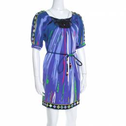 Emilio Pucci Multicolor Printed Silk Embellished Belted Shift Dress S 197869