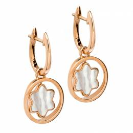 Montblanc Rotating Emblem Mother of Pearl 18k Rose Gold Earrings 198090