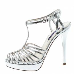 Ralph Lauren Metallic Silver Leather T-Strap Cut Out Platform Sandals Size 39.5 197818
