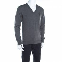 Gucci Grey Rib Knit Wool V Neck Long Sleeve Pullover M 198036