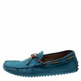 Tod's Blue Suede Braided Bow Loafers Size 41.5 197821