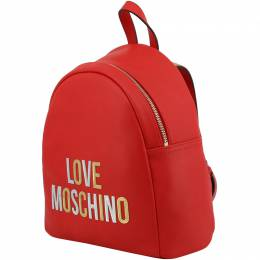 Love Moschino Red Faux Leather Applique Backpack 199482