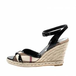 Burberry Black Patent Leather And Novacheck Canvas Espadrille Wedge Sandals Size 37 201184