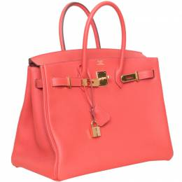 Hermes Rouge Pivoine Togo Leather Gold Hardware Birkin 35 Bag 201244