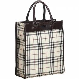 Burberry Brown Plaid Nylon Tote Bag 185184
