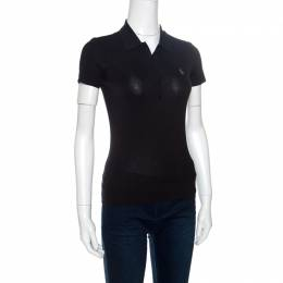Ralph Lauren Grey Stretch Rib Knit Logo Embroidered Fitted Polo T-Shirt XS 151259