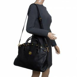 MCM Black Leather Satchel 239965