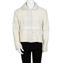 Alberta Ferretti Girls Cream Lurex Check Detail Coat 10-11 Yrs 109272