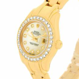 Rolex Mother of Pearl 18K Yellow Gold Diamonds Pearlmaster Women's Wristwatch 29MM 113529