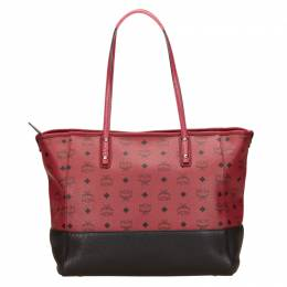 MCM Bi Color Visetos Leather Heritage Shopping Tote 58803