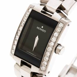 Movado Black Stainless Steel Diamonds Eliro 84 C1 415 AS Women's Wristwatch 22 mm 178344