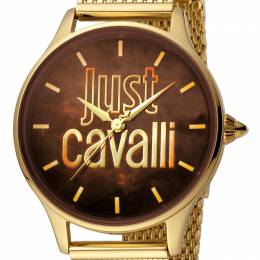 Just Cavalli Brown Gold Plated Stainless Steel JC1L032M0115 Women's Wristwatch 34MM 180099