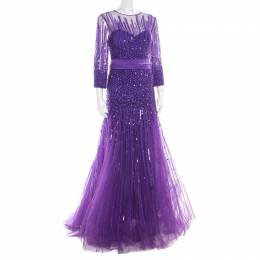Zuhair Murad Purple Sequin Embellished Mesh Tulle Bottom Long Sleeve Gown L 181753